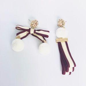 New!Rhinestones Bow Knot Pom Pom Earrings Burgundy